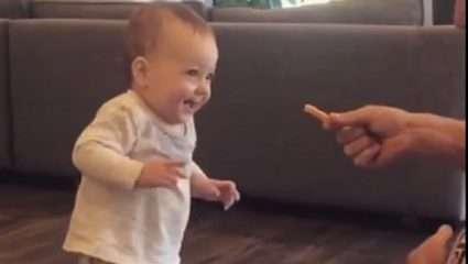 Μια τηγανητή πατάτα κάνει ένα μωρό να περπατήσει – ΒΙΝΤΕΟ