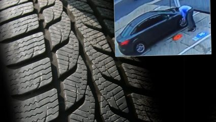 Φούσκωσε υπερβολικά το λάστιχο του αυτοκινήτου και προκάλεσε… όλεθρο! (ΒΙΝΤΕΟ)