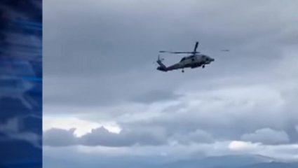 Βίντεο που κόβει την ανάσα: Ελικόπτερο παλεύει με τους ισχυρούς ανέμους στο Αίγιο – ΒΙΝΤΕΟ