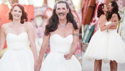 Γαμπρός αντί για κουστούμι φόρεσε το ίδιο νυφικό με την γυναίκα του στον γάμο τους