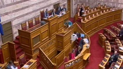 Απρόοπτο! Η τούμπα της Εύης Χριστοφιλοπούλου στη Βουλή (ΒΙΝΤΕΟ)